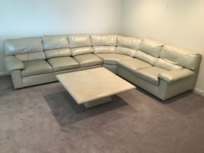 Lot 045 Three Piece Leather Couch. 32H X 36.5W X 183L. PICK UP IN LAKE GROVE.