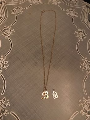 Lot 022 Lot Of 14K Gold B Necklace B Charm - 17 In. Chain. PICK UP IN BELLMORE.