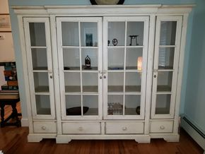 Lot 009 Wood-Glass China Cabinet 65H x 78.5W x 18D  CONTENTS NOT INCLUDED PICK UP IN MINEOLA,NY