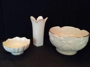 Lot 093 Lot of Lenox 1 Vase and 2 Bowls PICK UP IN ROCKVILLE CENTRE