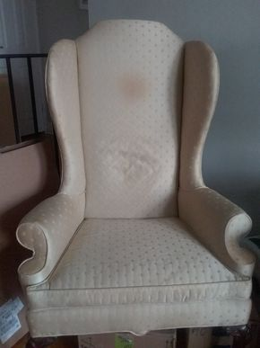 Lot 051 American Masterpiece Collection By Hickory Queen Anne Wing Back Chair 51H x 28W x 29L PICK UP IN GARDEN CITY