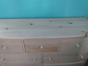Lot 045 7 Drawer Stanley Pine Dresser 32H x 19W x 56L PICK UP IN GARDEN CITY