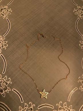 Lot 016 14K Gold Star Necklace With Floating Diamond - 15 In. Chain. PICK UP IN BELLMORE.