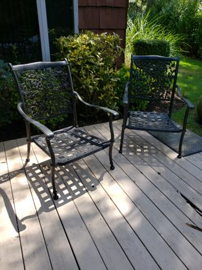 Lot 018 Lot of 2 Metal Outdoor Armchairs 37.5H x 26.75W x 24D PICK UP IN HEWLETT,NY