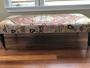Lot 049 Eliko Vintage Rug Bench 19H x 29W x 64L PICK UP IN LAWRENCE