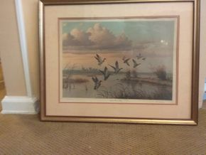 Lot 080 Framed Signed Cal  Gaspard NECHES RIVER FLATS 28.5 X 23 PICK UP IN WEST HEMPSTEAD