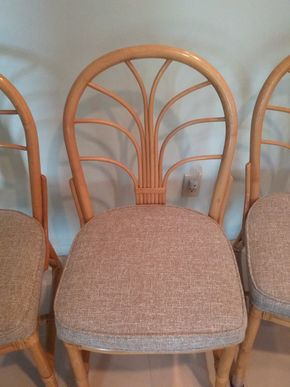 Lot 064 Lot Of 6 Rattan and Upholstered Kitchen Chairs 37H x 18W x 18L  PICK UP IN OLD BROOKVILLE