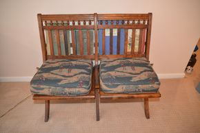 Lot 012 Antique Wood Church Pew w/Back Book Holder 32H x 37.5W 15.625L PICK UP IN GLEN COVE, NY