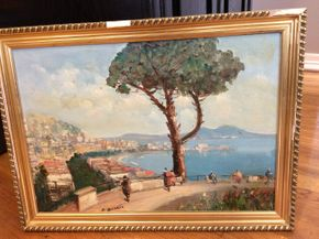 Lot 036 Oil On Board Illegibly Signed with Damaged Frame 16.25 X 22 PICK UP IN NEW HYDE PARK