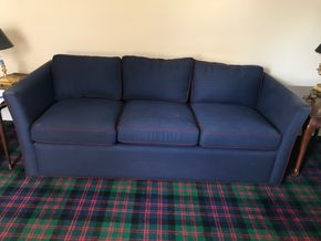 Lot 057 Upholstered Navy Carlyle Sleeper Sofa 27Hx36Wx80L. CAN BE PICKED UP IN GARDEN CITY.