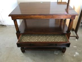Lot 100 Baker Side Table With Drawer and Shelf 30H x 20.5W x 32L PICK UP IN LAWRENCE