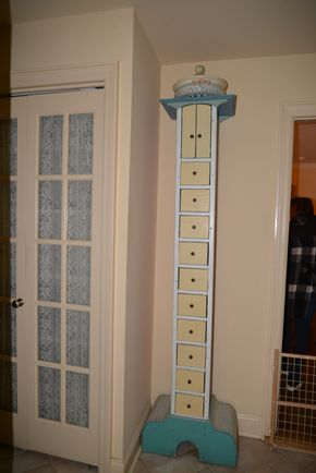 Lot 026 Painted 10 Drawer Wood  Cabinet 81H x 9W x 11L (Bowl on top not included)PICK UP IN PORT WASHINGTON, NY