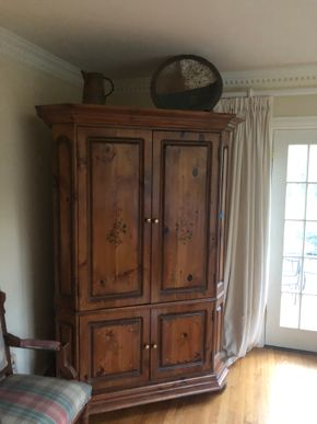 Lot 006 Leave Wooden Entertainment Armoire PICK UP IN PORT WASHINGTON
