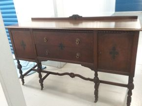 Lot 015 Antique Mahogany Buffet in need of Restoration 42H x 22W x 66L PICK UP IN ROCKVILLE CENTER