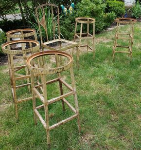 Lot 015 Lot of 6 Art Deco Metal Seating 5 Stools 20.5H x 12W and Chair 37.5H x 15.5W x 14.5D PICK UP IN MINEOLA,NY