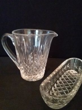 Lot 083 Waterford Pitcher and Celery Dish PICK UP IN ROCKVILLE CENTRE