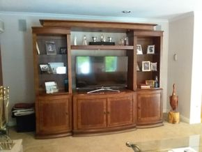 Lot 040 Large Wood Entertainment Center. 5 Pieces 84H x 19W x 106L PICK UP IN COMMACK