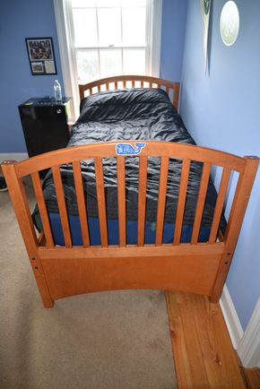 Lot 018 Wood Bed Frame 38H x 42W x 79.5L approx. PICK UP IN MALVERNE,NY