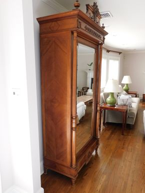 Lot 001 French Wedding Armoire Wood and Mirror 5 Shelves and 1 Drawer (Contents Not Included) 82H x 37W x 19.625L PICK UP IN CENTERPORT