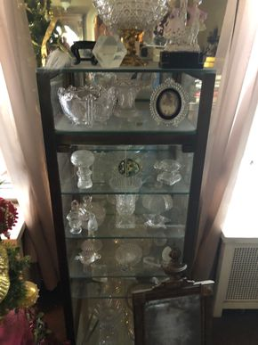 Lot 007 Medium Sized  49 inch Glass Curio Case with glass shelves AS IS