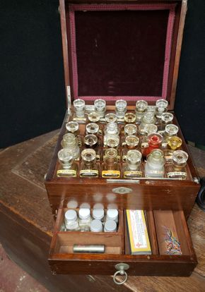 Lot 036 Vintage Yacht Medicine Chest w/ Silver Plate Teapot  Chest PICK UP IN MINEOLA,NY