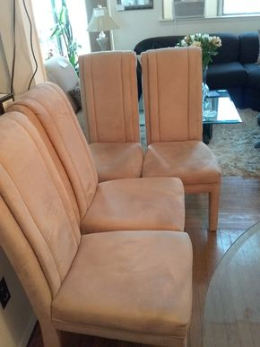 Lot 014 Lot of 4 Microfiber Slipper Chairs  42H x 23W x 19L PICK UP IN BELLE HARBOR