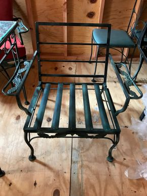 Lot 123 Wrought Iron Chair. 28H X 24W X 29L. PICK UP IN BELLMORE.