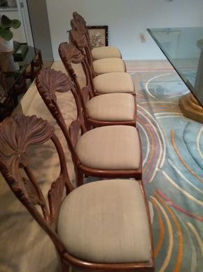 Lot 052 Lot Of 6 Carved Wood and Upholstered  Chairs 37H x 18W x 19L PICK UP IN OLD BROOKVILLE
