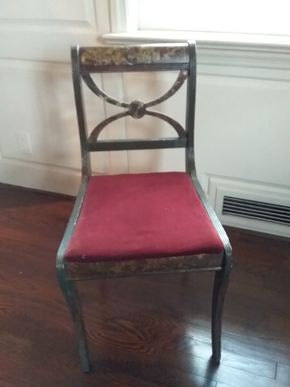 Lot 069 Antique Hand Painted Wood and Upholstered Chair 32H x 15.5W x 1 L PICK UP IN PORT WASHINGTON