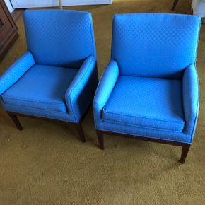 Lot 028 Pair of Mid Century Upholstered Blue Chairs Some Stains on Fabric 31H x 23D x 26W  PICK UP IN NORTH BABYLON