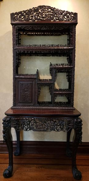 Lot 036 CC-PU TAG SALE 9-13-19/ Carved Asian Inspired Desk 79H x 36W x 22.5D PICK UP IN ROCKVILLE CENTRE, NY