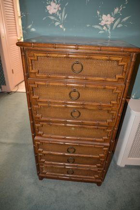 Lot 022 Pick Up Bamboo Lingerie Chest  includes 7 drawers 46H x 23.5W x 15.5L PICK UP IN GARDEN CITY