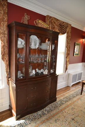 Lot 001 Mahogany Cabinet (Contents Not Included) Glass Door, 3 Wood Shelves and 3 Bottom Drawers and 2 Storage Cabinets 72H x 45.75W x 13L PICK UP IN GARDEN CITY