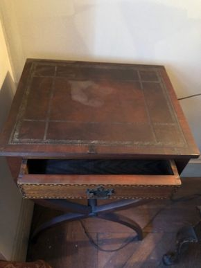 Lot 107 Inlaid Side Table w/leathertop w/one drawer 28Hx18Wx14.5D