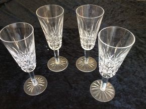 Lot 024 Lot Of 4 Waterford Champagne Glasses 7.25 Inches Tall PICK UP IN CENTERPORT