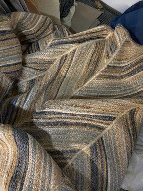 Lot 009 PU Decorative Blue beige herringbone design area rug silver thread 8x10 PICK UP IN GARDEN CITY