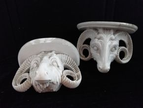Lot 051 Pair of White Porcelain Ram Heads Repaired 9.5Hx12.5L