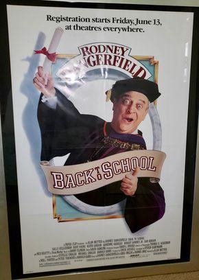 Lot 016 Framed Rodney Dangerfield Back To School Movie Poster 39.5H x 26W PICK UP IN HEWLETT,NY