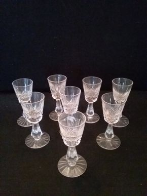 Lot 074 Lot of 8 Kenmare Sherry Liquor  Waterford Glasses   PICK UP IN ROCKVILLE CENTRE