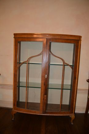 Lot 012 Pick Up Wood-Glass Cabinet 58H x 36W x 12.875 w/ 2 Glass Shelves PICK UP IN PORT WASHINGTON, NY