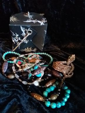 Lot 009 Lot Of Costume Bracelets and Necklaces In Chinese Takeout Purse PICK UP IN CEDARHURST