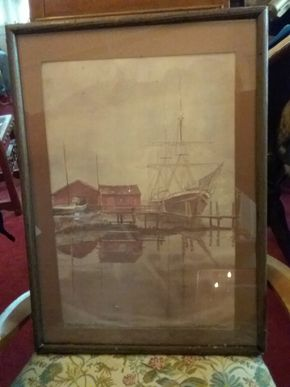 Lot 014 Framed Watercolor Signed Paul N Norton Misty Morn IN Mystic 22x16 PICK UP IN FLORAL PARK