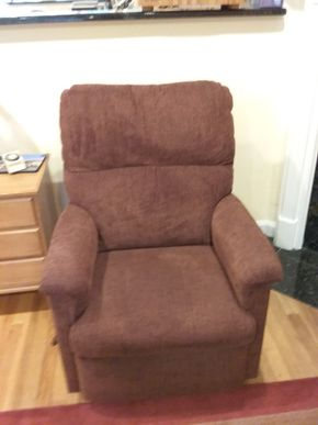 Lot 021 Upholsteed Lazy Boy Recliner 37 x 36 x 30 PICK UP IN OCEANSIDE