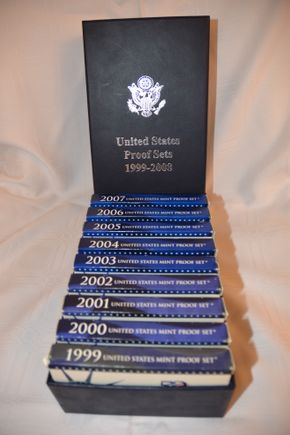Lot 003 Lot of 9 sets of US Proofs 1999-2007 no 2008 as indicated on the box