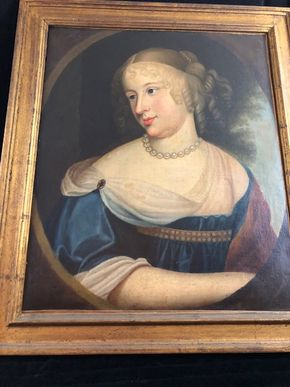 Lot 148 Antique Portrait of Woman in Green Dress 19th Century 23Hx19W - unsigned and restored