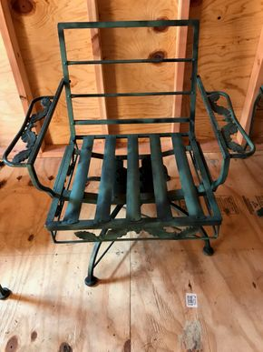 Lot 120 Wrought Iron Rocking Chair. 28H X 24W X 29L. PICK UP IN BELLMORE.
