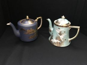 Lot 015 Lot Of Two Decorative Japanese Porcelain Teapots. Approx Dark Blue 5.75H. PICK UP IN STONY BROOK.