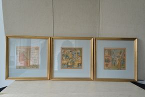Lot 002 Lot of 3 Antique Winter Crane Prints Illustrated by Walter Crane Circa 1880 6.5H x 6W x 6L PICK UP IN GARDEN CITY