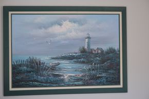 Lot 027 Pick Up-Delivery  /Paid Framed Lighthouse Painting Signed E. Woodson 23.5H x 35.25W PICK UP IN SEAFORD, NY