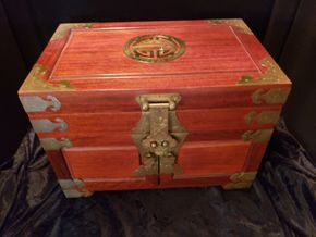 Lot 031 Large Vintage Asian Jewelry Box, Lined Red Material,Wood and Hinges are Brass PICK UP IN FOREST HILLS,NY